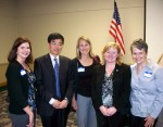 (l to r) Kerrie Walters, Grants Pass Tourism; Consul General Gao; Anne Jenkins, Medford VCB; Teresa O'Neill, Travel Oregon; Carolyn Hill, SOVA